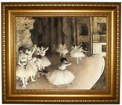 Degas Ballet Rehearsal On Stage 1874 Framed Canvas Print Repro 16x20