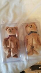 Set Of 2 Bear Beanie Babys-fuzz And Curly By Ty