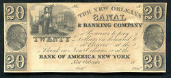 1800's 20 The New Orleans Canal And Banking Co. Obsolete Remainder Unc