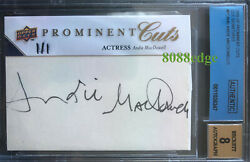 2009 Prominent Cuts Auto Andie Macdowell 1/1 Groundhog Day Bas Autograph 9