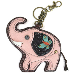 Chala Good Luck Elephant Key Chain Coin Purse Leather Bag Fob Charm New