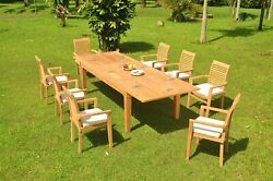 9-piece Outdoor Teak Dining Set 122andrdquo Rectangle Table 8 Stacking Arm Chairs Masc