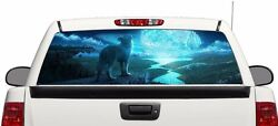 Wolf And Moon Wrap Rear Window Graphics Decal Sticker 66and039and039 X 22and039and039 Suv Truck