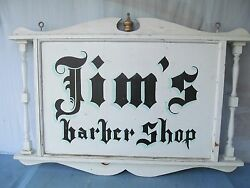 Antique Hand-painted Barber Shop Hanging Sign Double Sided Signed Folk Art 4'x3'