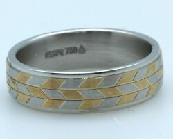 Christian Bauer Gentand039s Platinum+18k Yellow Gold Ring 6.50 Mm Wide Sample Sale