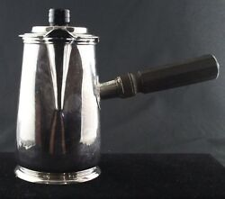 Antique Christofle Arts And Crafts Style Large 8 1/2 Silver Lidded Chocolate Pot