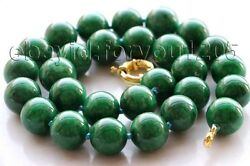 18 Genuine Natural 14mm Green Round Emerald Necklace F1980