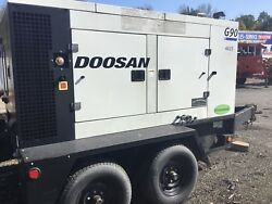 Used 2012 DOOSAN G90 Trailer Mounted Tow Behind generator 90kva Back Up Power