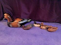 Lot Of 5 Vintage Duck Decoys Including 2 By Gary Stary- Signed