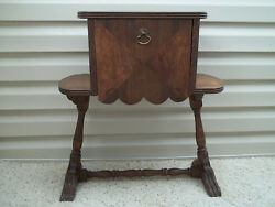 Vintage Wood End Side Table Nightstand Cabinet Copper Lined Cigar Humidor Stand
