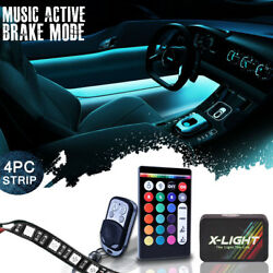 4pc Full Color Led Interior Light Kit For All Cars Accent Neon Glow Strip Lights