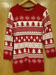 Exhibit Womanand039s Red And White Festive Xmas Christmas Jumper Size Medium - Large