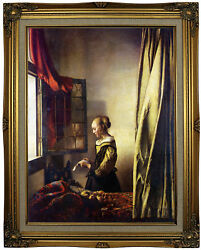 Vermeer Girl Reading Letter At Open Window Wood Framed Canvas Print Repro 18x24