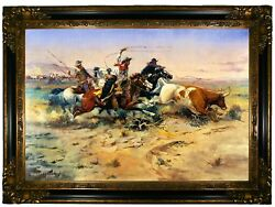 Russell The Herd Quitter 1897 Wood Framed Canvas Print Repro 19x28