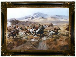 Russell Stage Coach Attack Wood Framed Canvas Print Repro 19x28