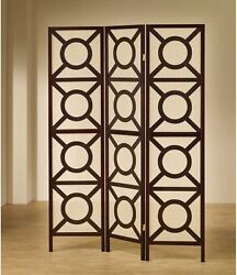 Cappuccino Wood Circle Pattern Folding Screen Room Divider Privacy Curtain Panel