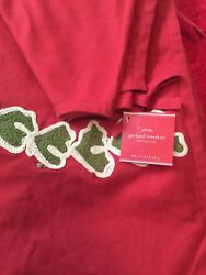 Pottery Barn Garland Crewel Embroidered Tree Skirt Red Green 60