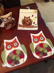 Nwt Designer Owl Placemats And Table Runner By Harvest Home For Fall Thanksgiving