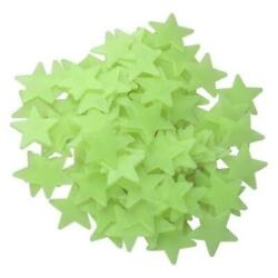 Yellow 100 3D Star Wall Baby Kids Plastic Stickers Glow In the Dark Home Decor