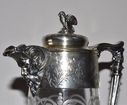 Antique Grotesque Silverplate Floral And Bird Etched Glass Pitcher Claret Jug