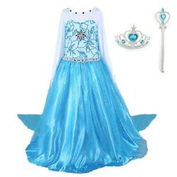 2018 Elsa Costume Princess Party Girls Dress with Crown and Wand 2-10 Y