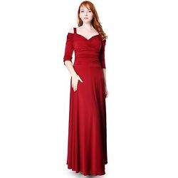 Evanese Womenand039s Elegant Slip On Long Formal Evening Dress With 3/4 Sleeves