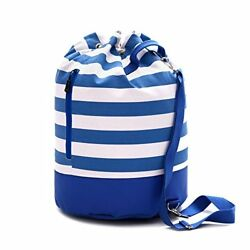 Large Canvas Beach Bag - Striped Tote Bag With Waterproof Lining - Top Zipper Cl