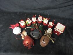 Set Of 12 Assorted Christmas Tree Decorative Ornaments And Small Ceramic Box 3x2