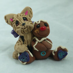 Gingerbread Man Yorkie Yorkshire Terrier Figurine Holiday Christmas XMAS Dog