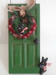 OOAK*****2 BLACK SCOTTISH TERRIERS DECORATED HOLIDAY DOOR WOOD DECORATION******