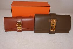 100% Authentic Hermes Medor Clutch 29 Toundra Boxcalf Gold Hardware