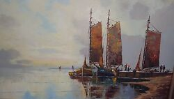 Sale Rare German Signed Fritz Bladel 1903 -1950 Ships Oil Painting 50x 38