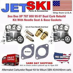 Sea Doo Xp 787 800 95-97 Dual Carb Rebuild Kit With Needle Seat And Base Gaskets