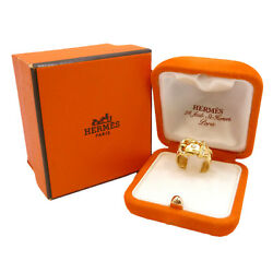 Authentic Hermes Wide Buckle Band Ring 18k Yellow Gold Mark Size52 Us5 S14026