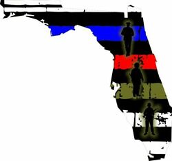 State Of Florida Thin Blue Line American Flag With Soldier Fire Police Military