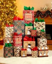 NEW CHRISTMAS Holiday Gift Wrapping Bag Set Assorted Designs And Sizes 28-Pc.