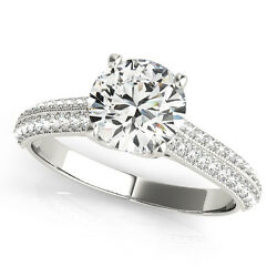 2.25 Ct Round Moissanite Forever One And Diamond Antique Engagement Ring
