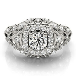 0.90 Ct Round Moissanite Forever One And Diamond Antique Engagement Ring
