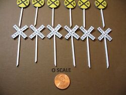 O Scale Set Of 6 @ Railroad Crossing Signs And Crossbucks, Custom-made, New