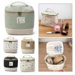 Multi Function Floral Cosmetic Bag Large Capacity Vanity Storage With Handle New $8.97