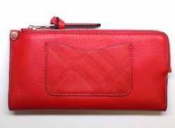 NEW WOMEN'S BURBERRY BRIT LEXI CADMIUM RED LEATHER WALLET