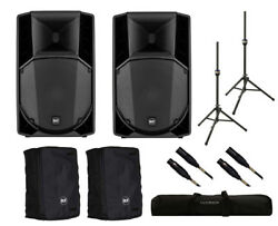 2x RCF ART 708-A MK4 Active Speaker + Covers + Stands + Bag + Mogami Cables