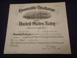 Ww2 Us Navy Pearl Harbor Storekeeper Second Class Honorable Discharge Paper