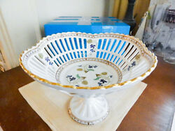Haviland Limoges Imperatrice Eugenie Footed Pierced Round Bowl Basket - New/box