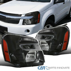 For 05-09 Chevy Equinox Suv Matte Black Headlights Front Driving Head Lamps Pair
