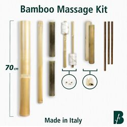 Bamboo Massage Kit Set (11 stick) TOP VERSION - Natural, craft, Made in Italy