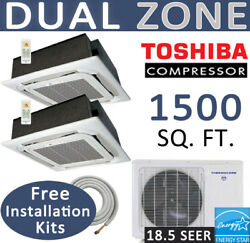 30000 BTU Ductless Mini Split Air Conditioner Heat Pump: 12000 + 18000 Ceiling