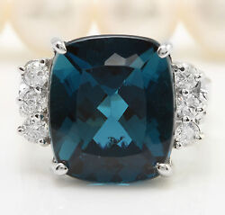 Women Natural London Blue Topaz And Diamonds 8.90 Ctw In 14k White Gold Ring