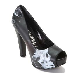 Metal Mulisha Women's Mysterious Pump High Heel Open Toed Shoes Skull Design $55.80