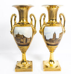 Antique Pair Continental Porcelain Double Handled Gilt Vases late19th C